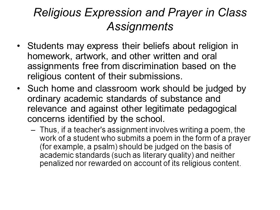 Religious Expression and Prayer in Class Assignments