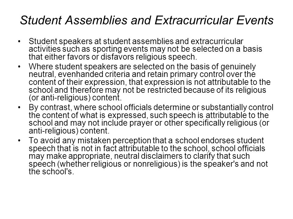 Student Assemblies and Extracurricular Events