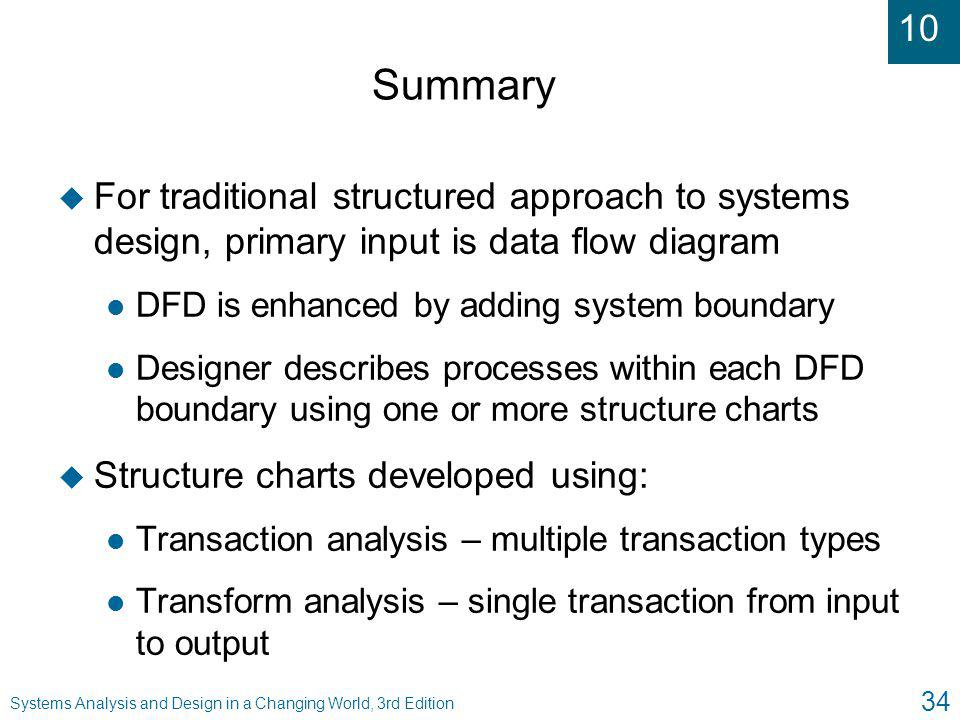 Summary For traditional structured approach to systems design, primary input is data flow diagram. DFD is enhanced by adding system boundary.