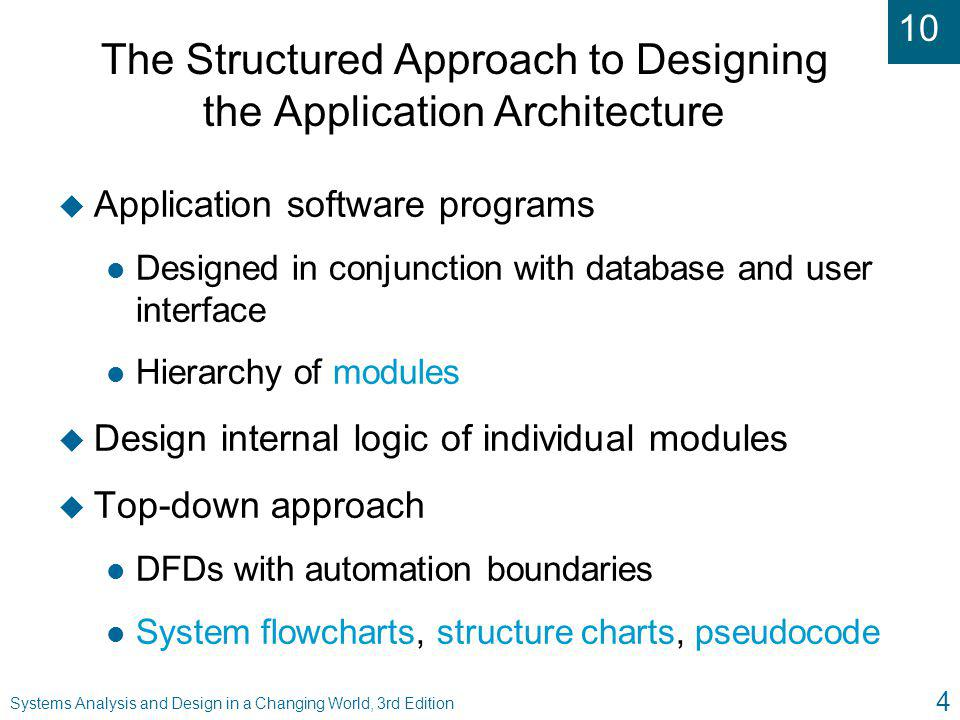 The Structured Approach to Designing the Application Architecture