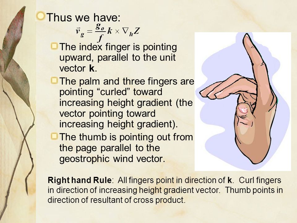 Thus we have: The index finger is pointing upward, parallel to the unit vector k.