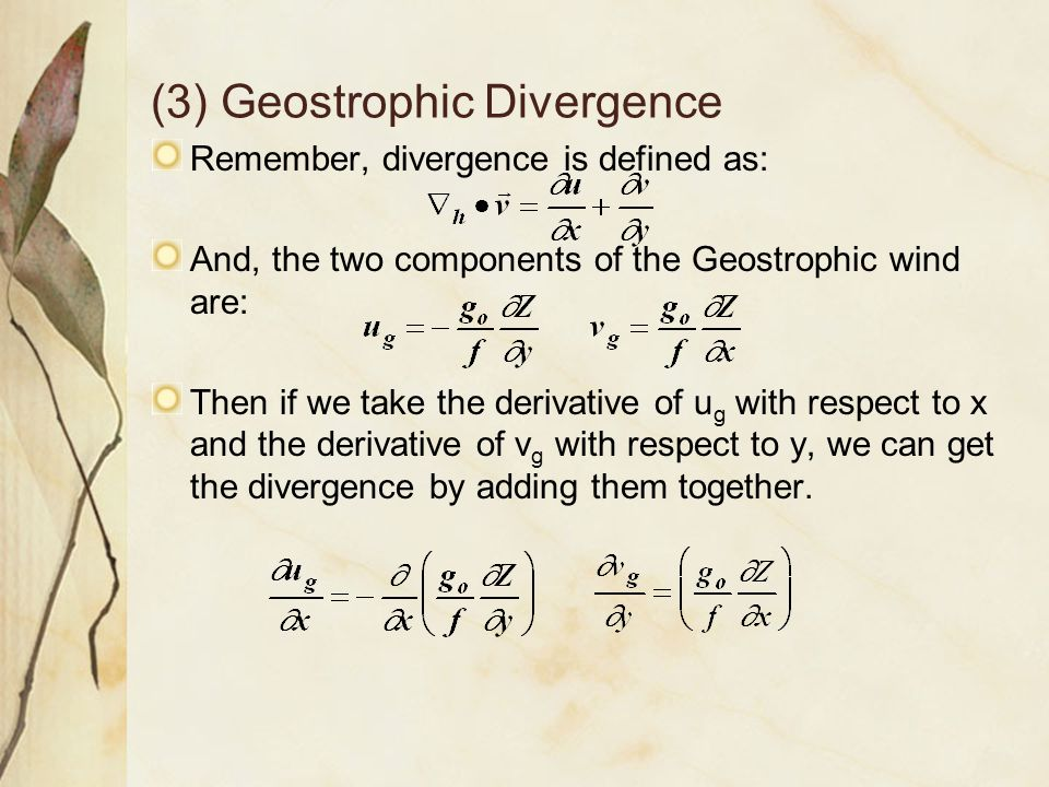 (3) Geostrophic Divergence