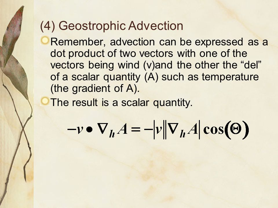 (4) Geostrophic Advection