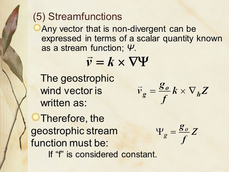 The geostrophic wind vector is written as: