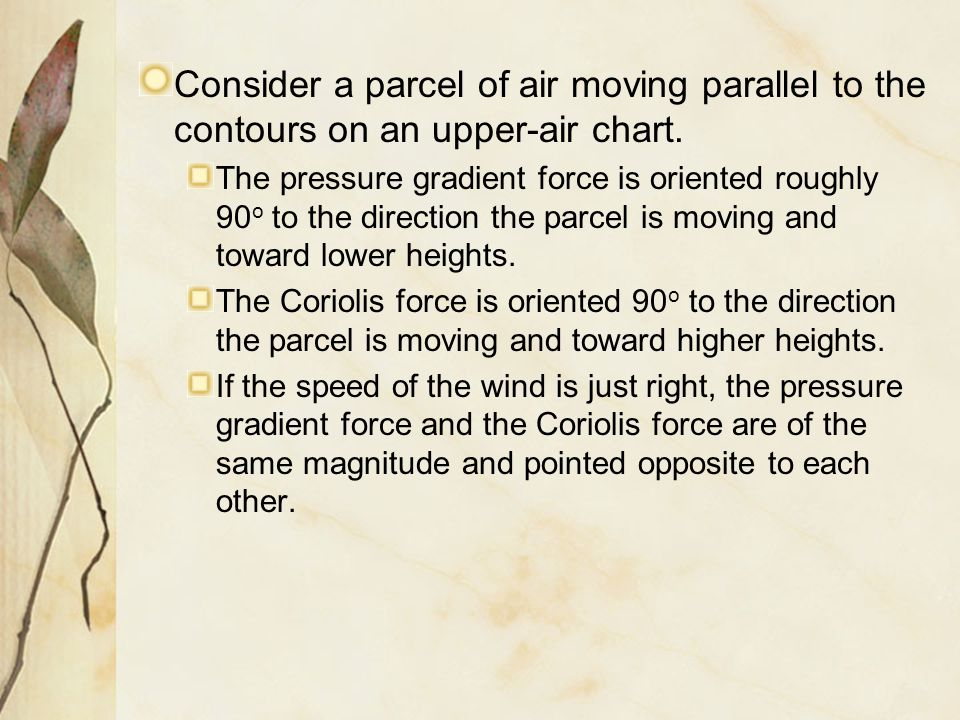 Consider a parcel of air moving parallel to the contours on an upper-air chart.