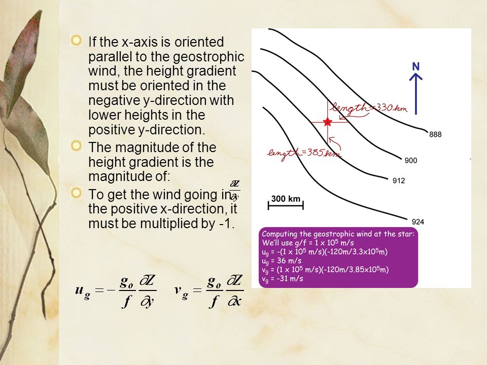If the x-axis is oriented parallel to the geostrophic wind, the height gradient must be oriented in the negative y-direction with lower heights in the positive y-direction.