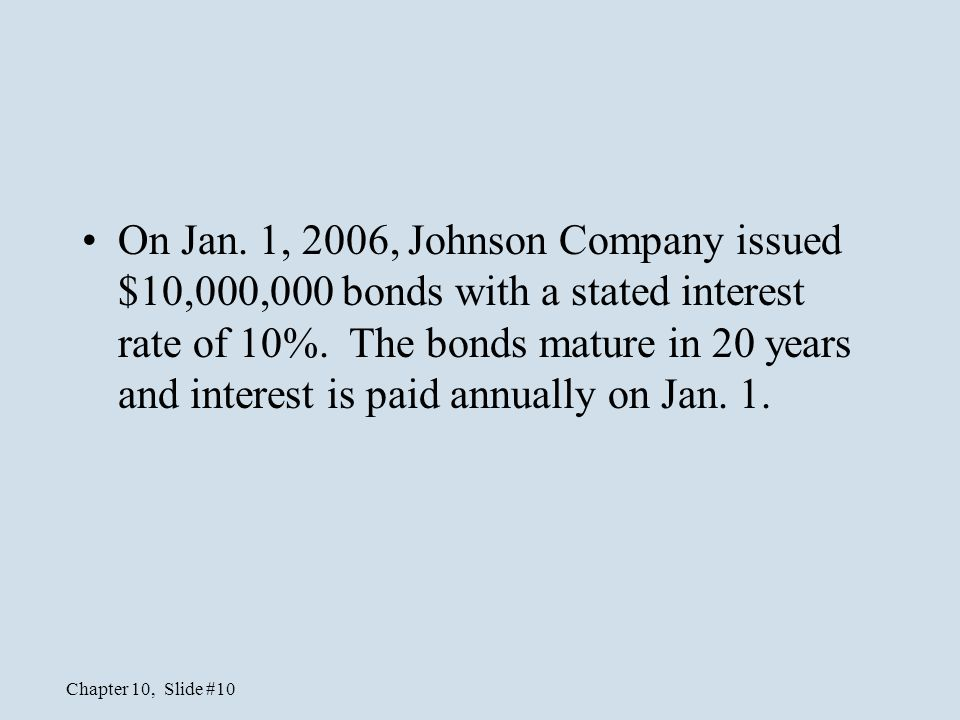 On Jan. 1, 2006, Johnson Company issued $10,000,000 bonds with a stated interest rate of 10%.