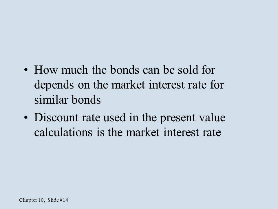 How much the bonds can be sold for depends on the market interest rate for similar bonds