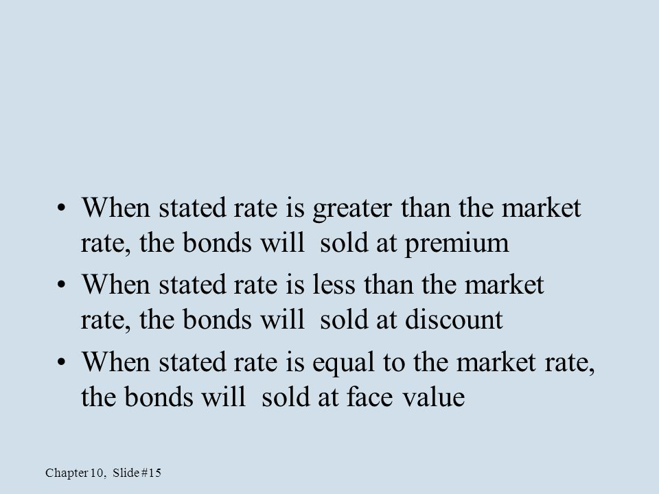 When stated rate is greater than the market rate, the bonds will sold at premium