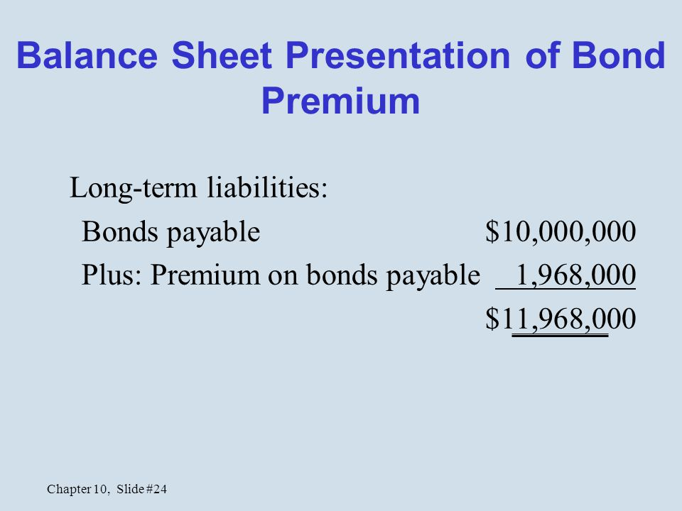 Balance Sheet Presentation of Bond Premium