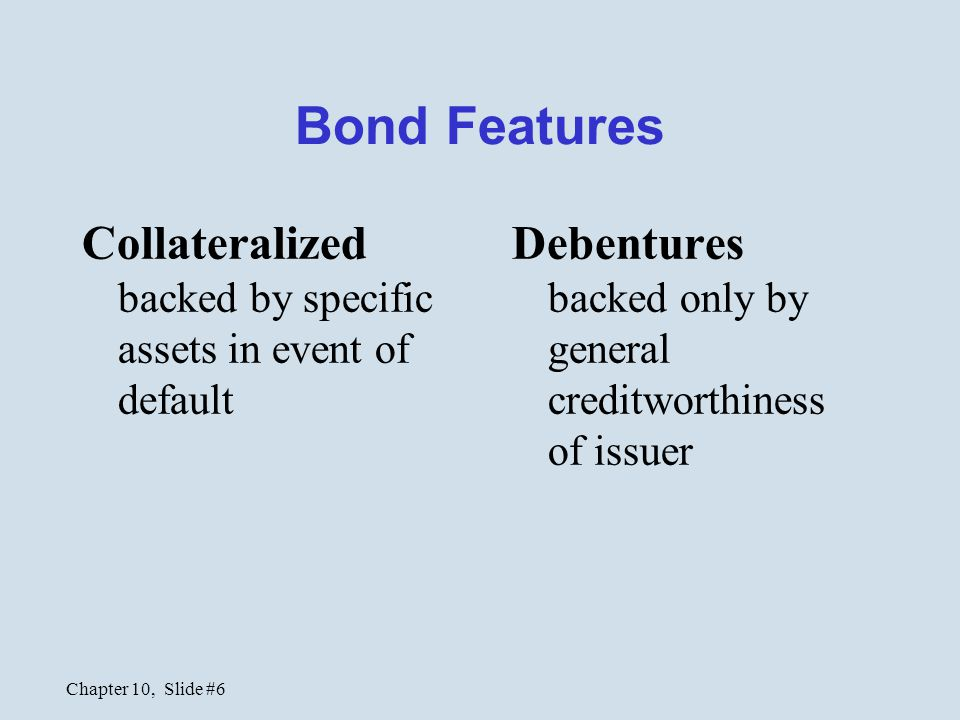 Bond Features Collateralized backed by specific assets in event of default.