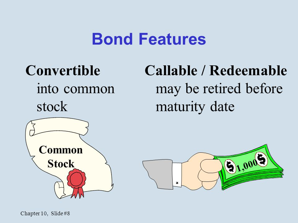 Bond Features Convertible into common stock