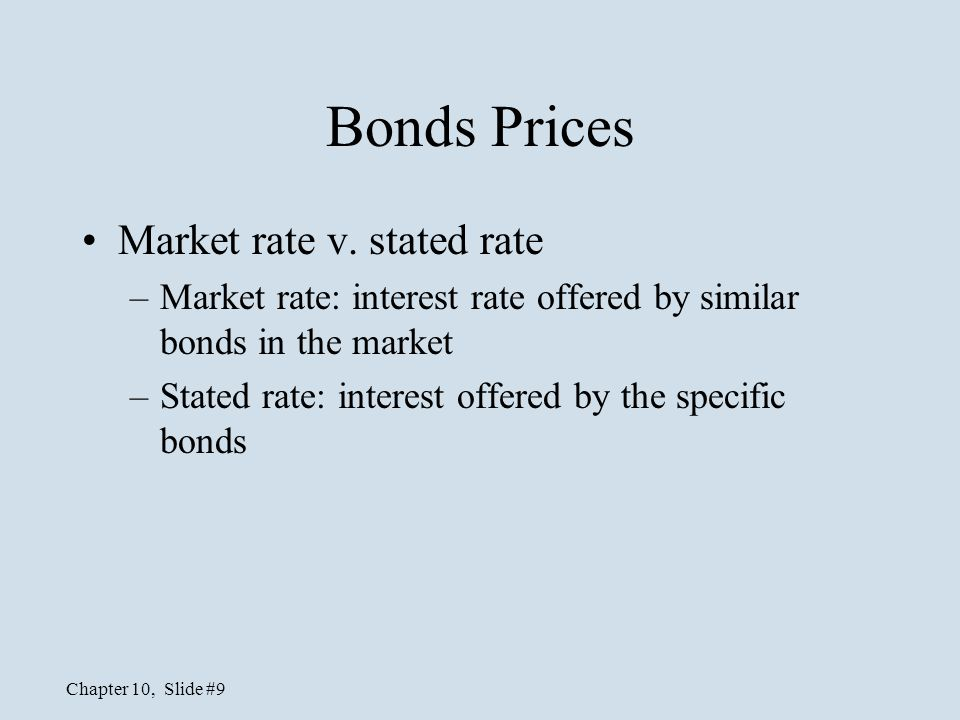 Bonds Prices Market rate v. stated rate
