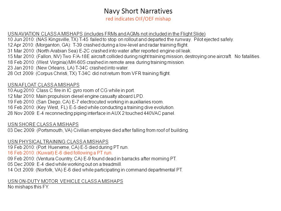 Navy Short Narratives red indicates OIF/OEF mishap