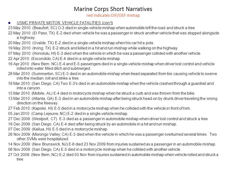 Marine Corps Short Narratives red indicates OIF/OEF mishap