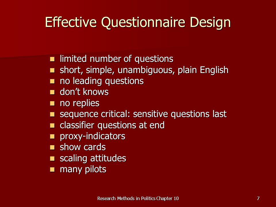 Effective Questionnaire Design
