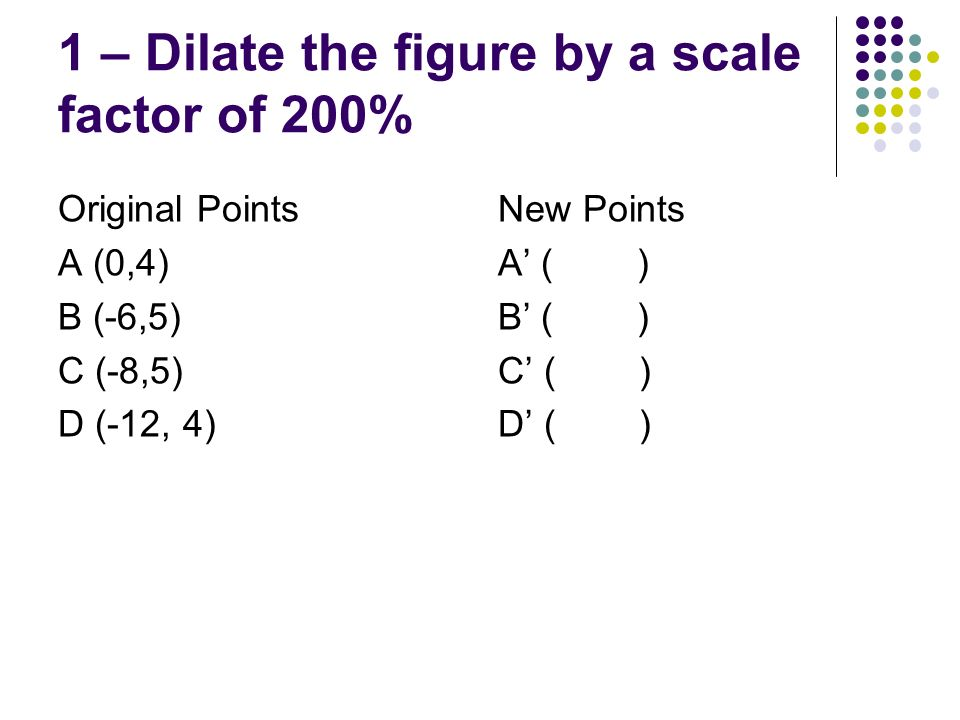1 – Dilate the figure by a scale factor of 200%