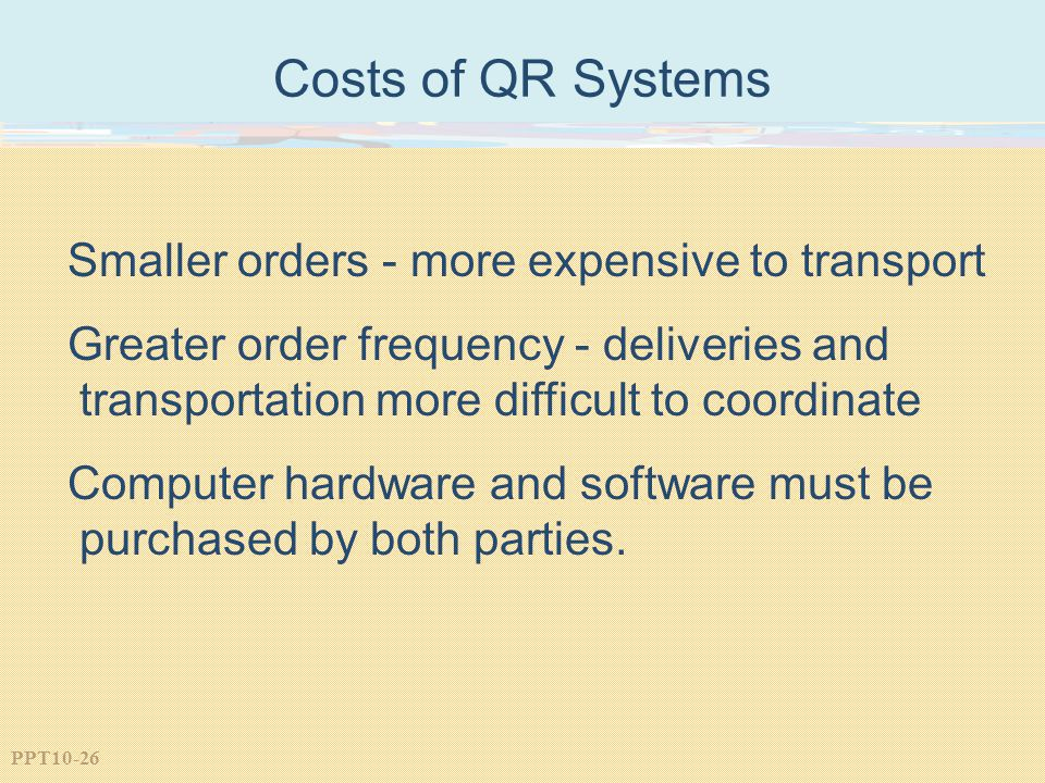 Costs of QR Systems Smaller orders - more expensive to transport