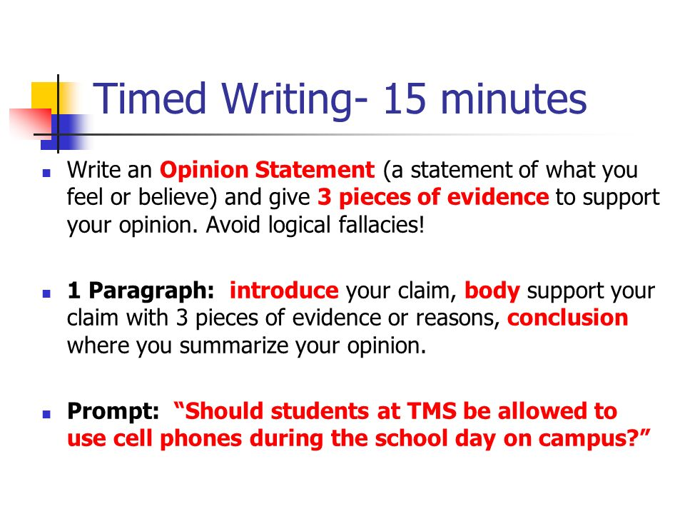 Timed Writing- 15 minutes