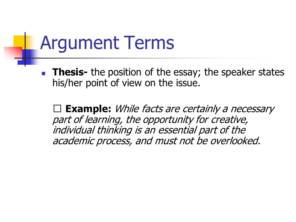 Argument Terms Thesis- the position of the essay; the speaker states his/her point of view on the issue.