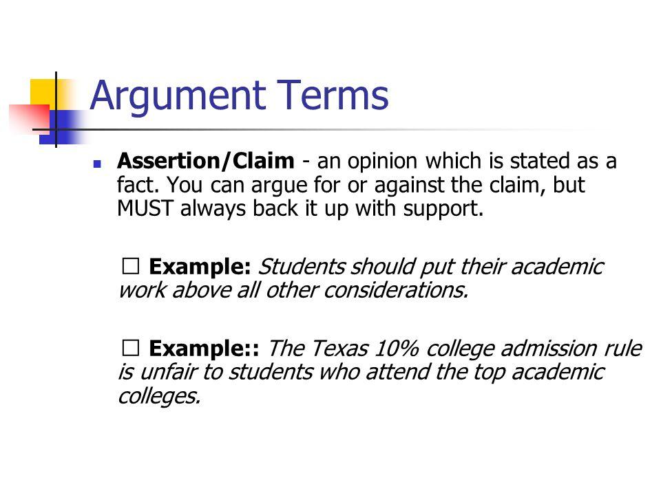 Argument Terms