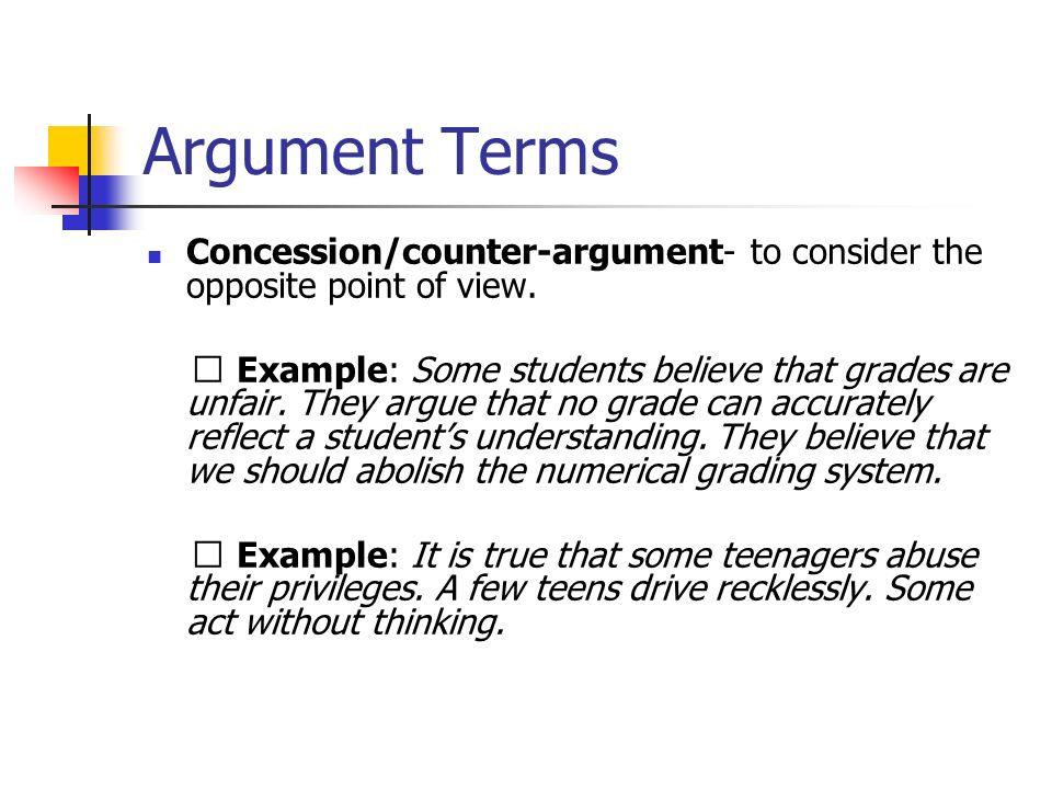 Presenting a counter argument in an essay