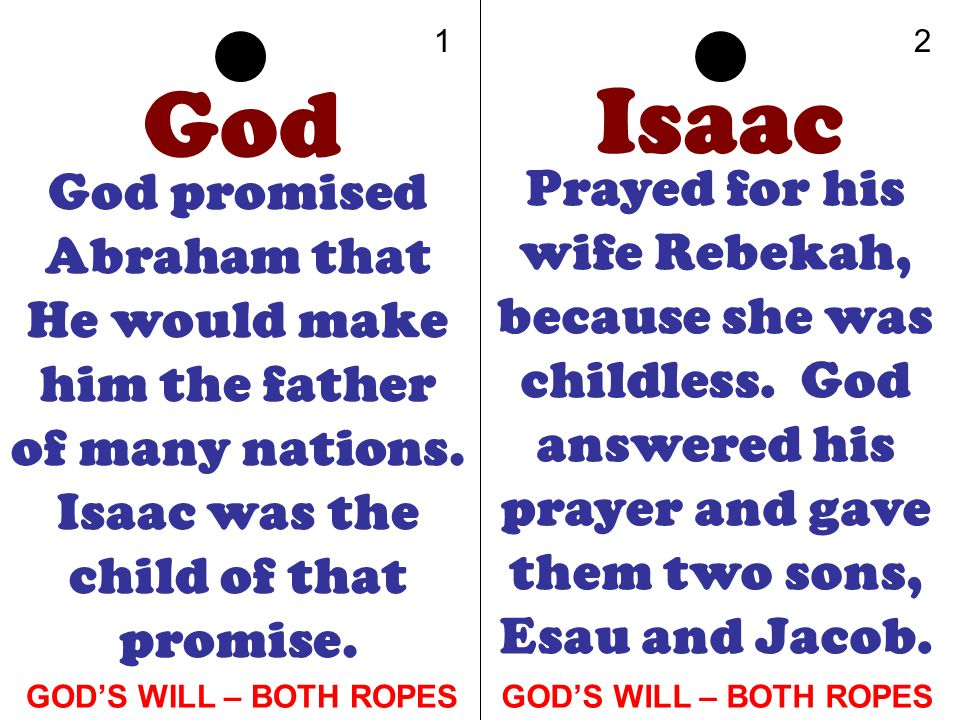 12. God. Isaac. God promised Abraham that He would make him the father of many nations. Isaac was the child of that promise.