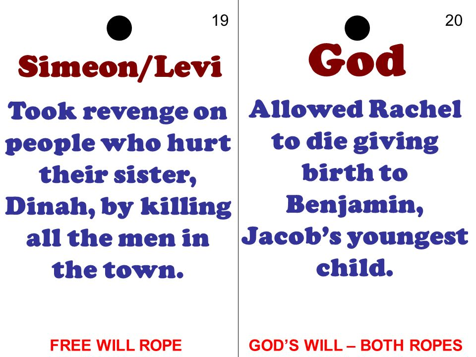 19 20. God. Simeon/Levi. Took revenge on people who hurt their sister, Dinah, by killing all the men in the town.