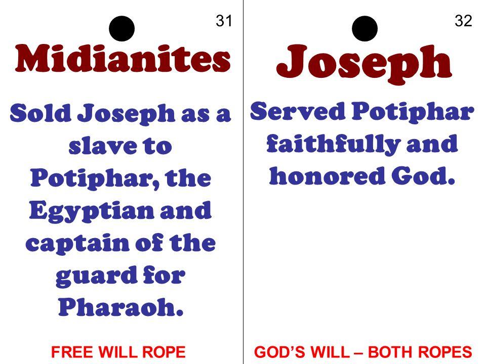 Served Potiphar faithfully and honored God.