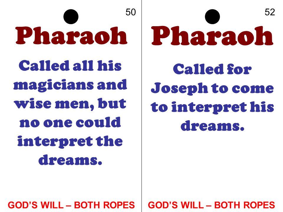Called for Joseph to come to interpret his dreams.