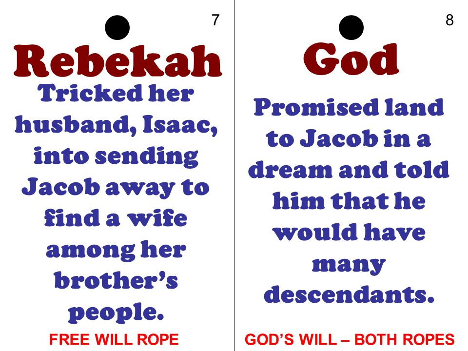 7 8. Rebekah. God. Tricked her husband, Isaac, into sending Jacob away to find a wife among her brother's people.