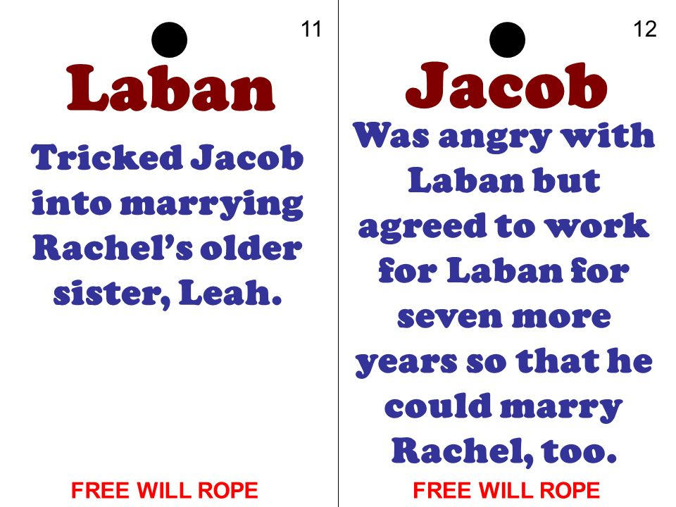 Tricked Jacob into marrying Rachel's older sister, Leah.