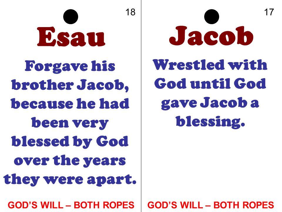 Wrestled with God until God gave Jacob a blessing.