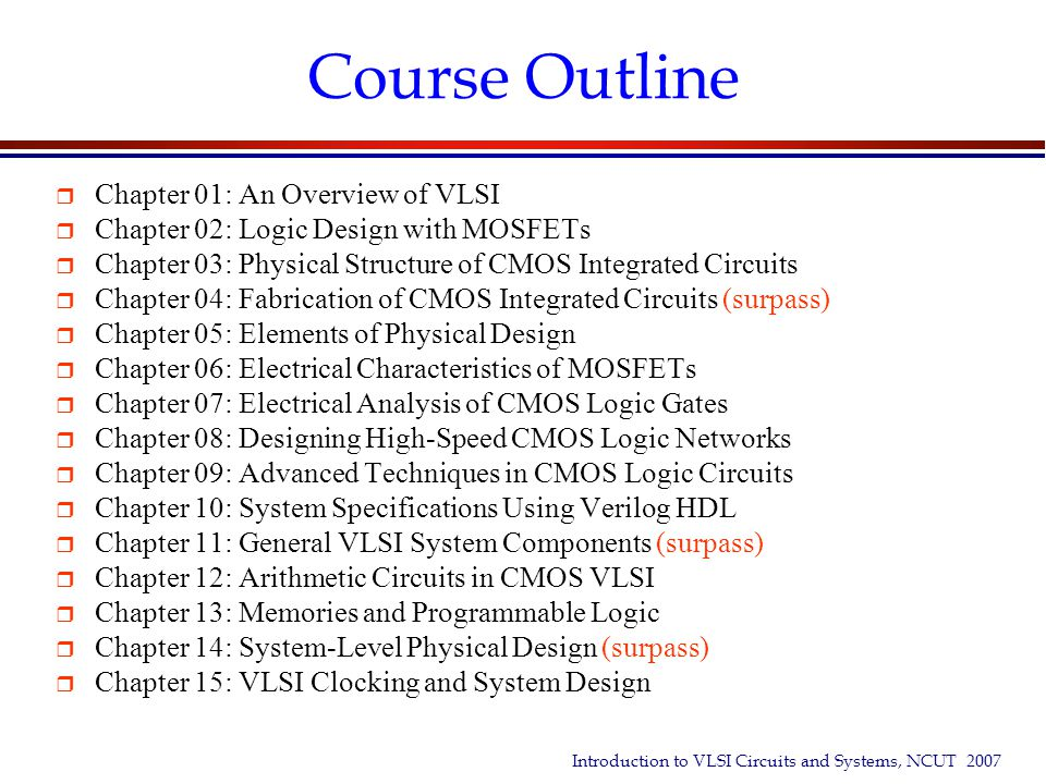 Course Outline Chapter 01: An Overview of VLSI