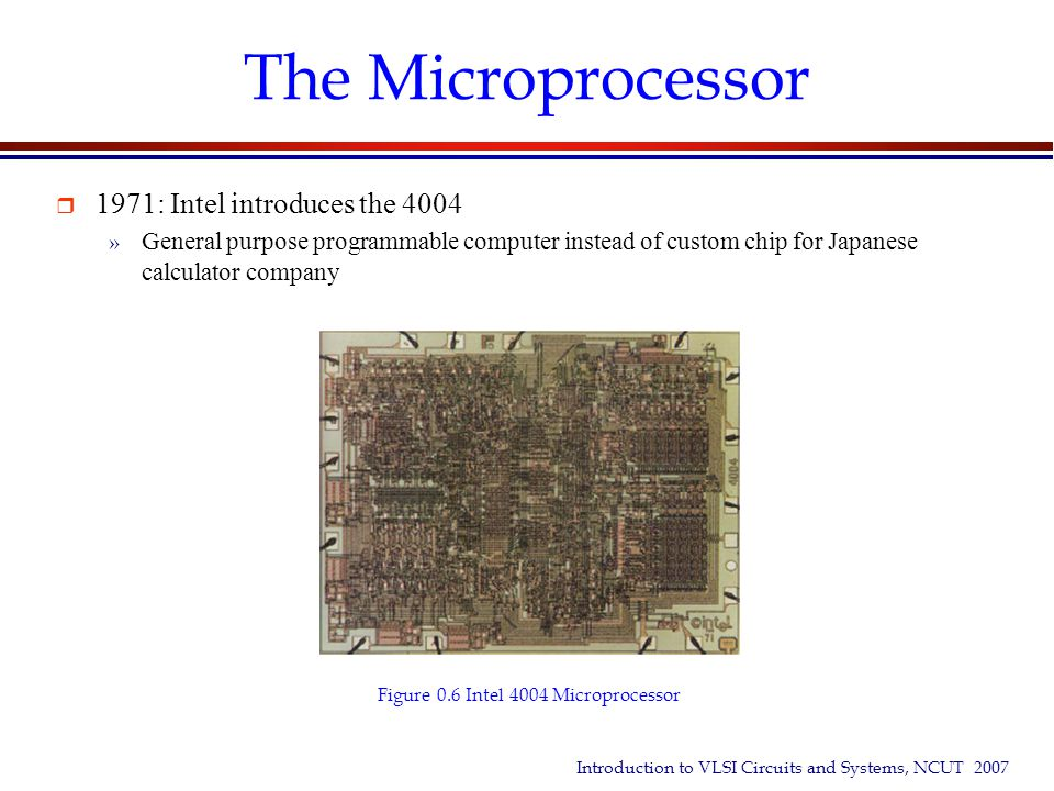The Microprocessor 1971: Intel introduces the 4004