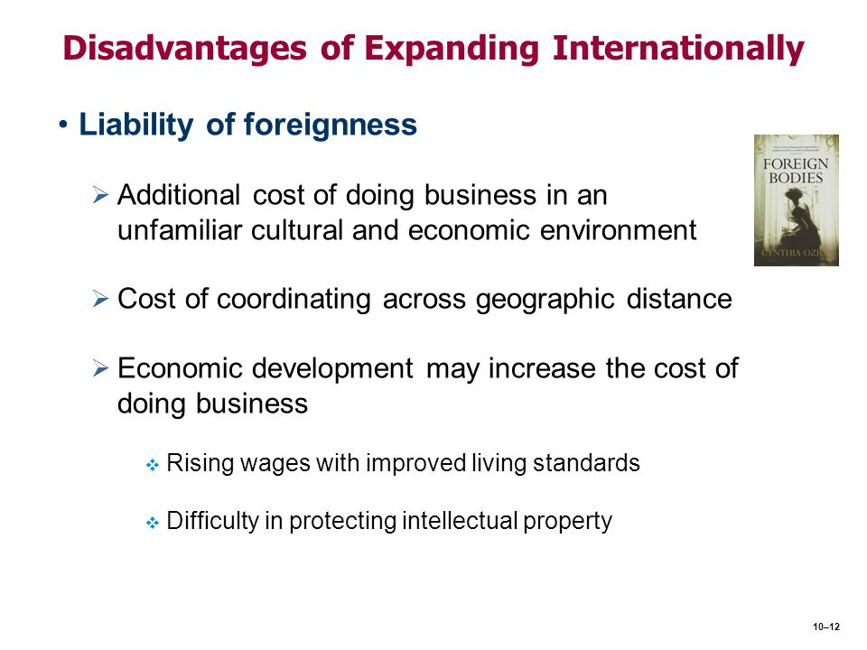 advantages and disadvantages of international expansion Advantages and disadvantages of business operations in foreign countries  add remove as part of its international expansion program, acme,.