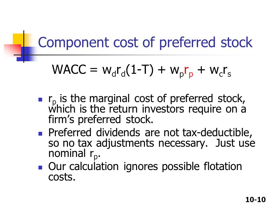 Component cost of preferred stock