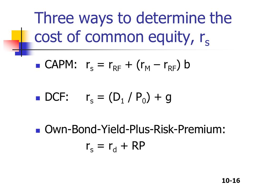 Three ways to determine the cost of common equity, rs