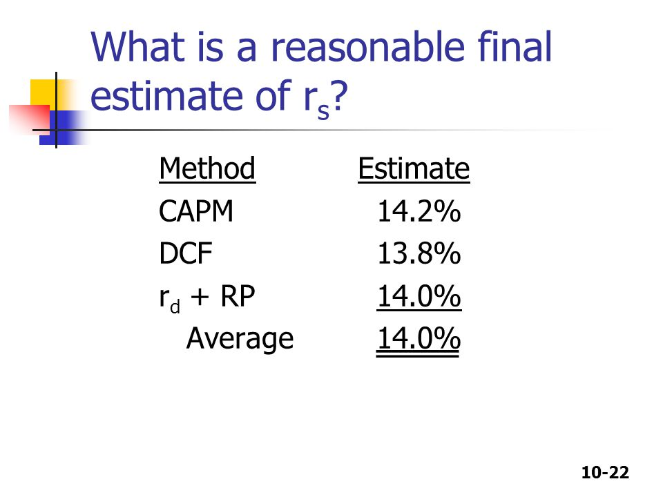 What is a reasonable final estimate of rs