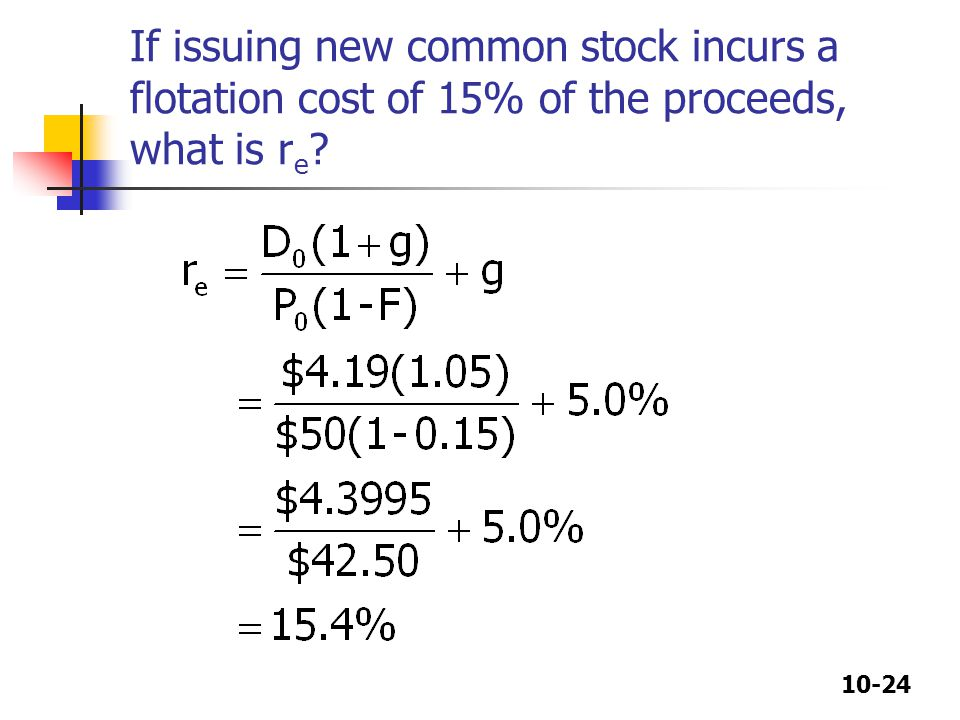 If issuing new common stock incurs a flotation cost of 15% of the proceeds, what is re