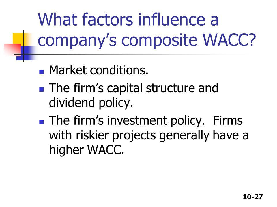 What factors influence a company's composite WACC