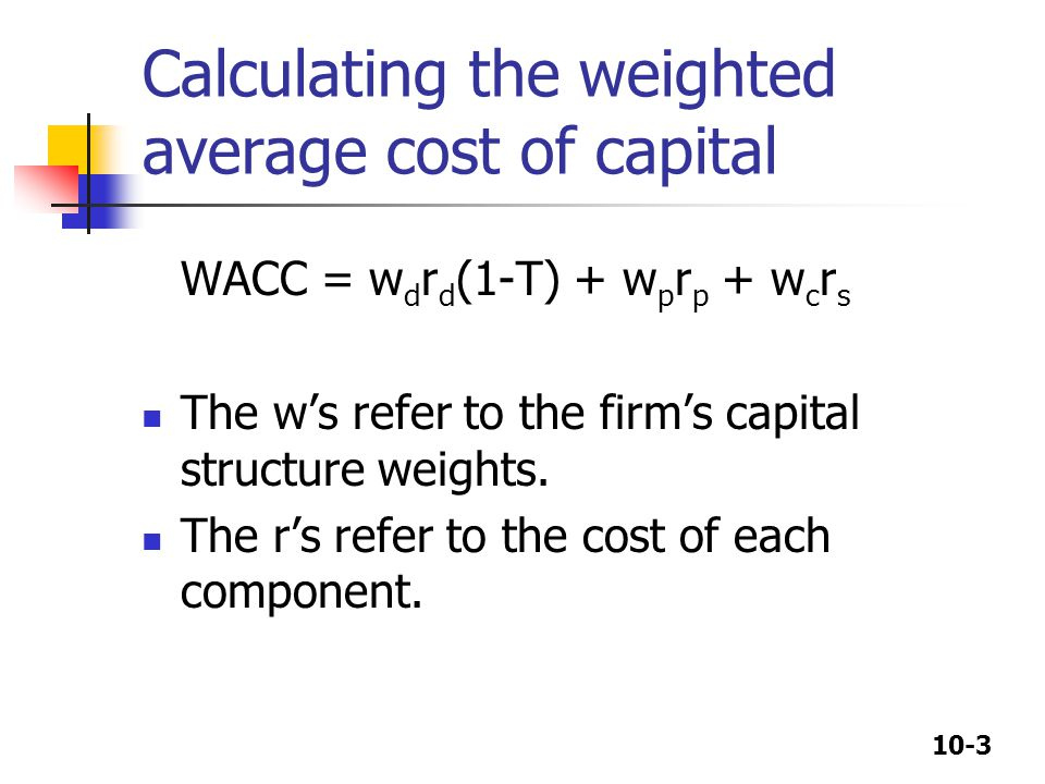 Calculating the weighted average cost of capital