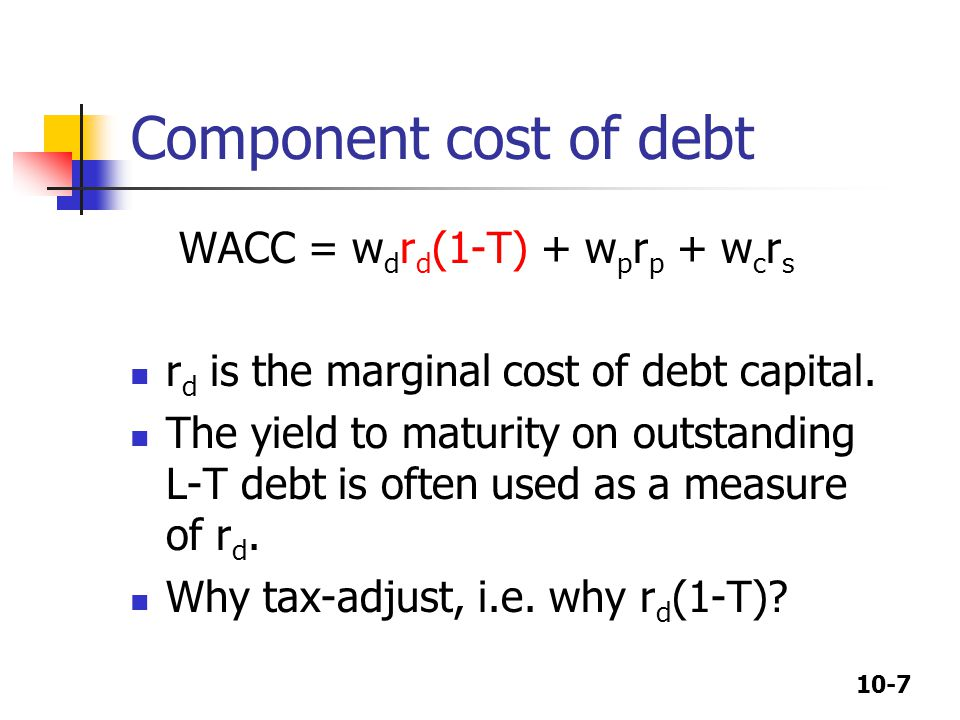 Component cost of debt WACC = wdrd(1-T) + wprp + wcrs