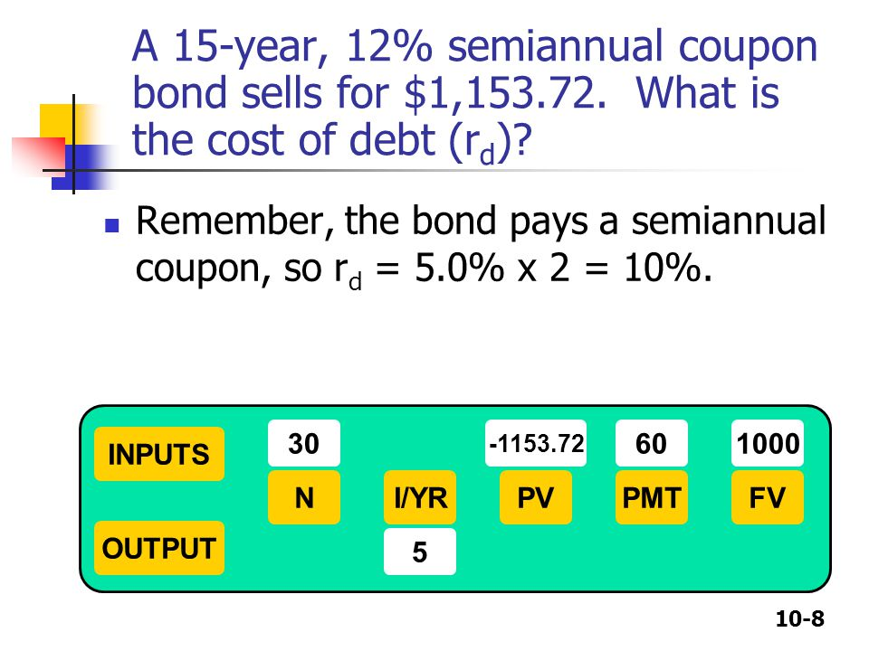 A 15-year, 12% semiannual coupon bond sells for $1,
