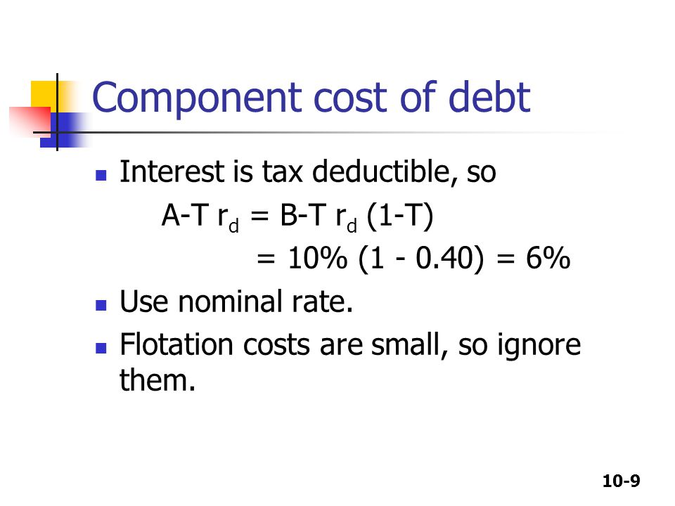 Component cost of debt Interest is tax deductible, so