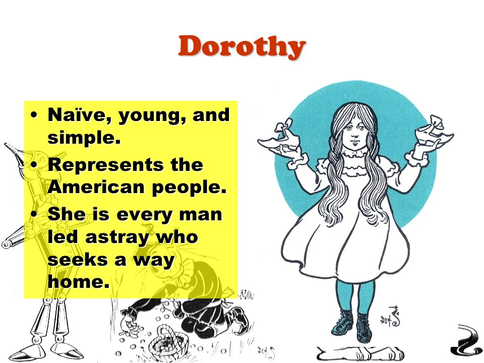 Dorothy Naïve, young, and simple. Represents the American people.