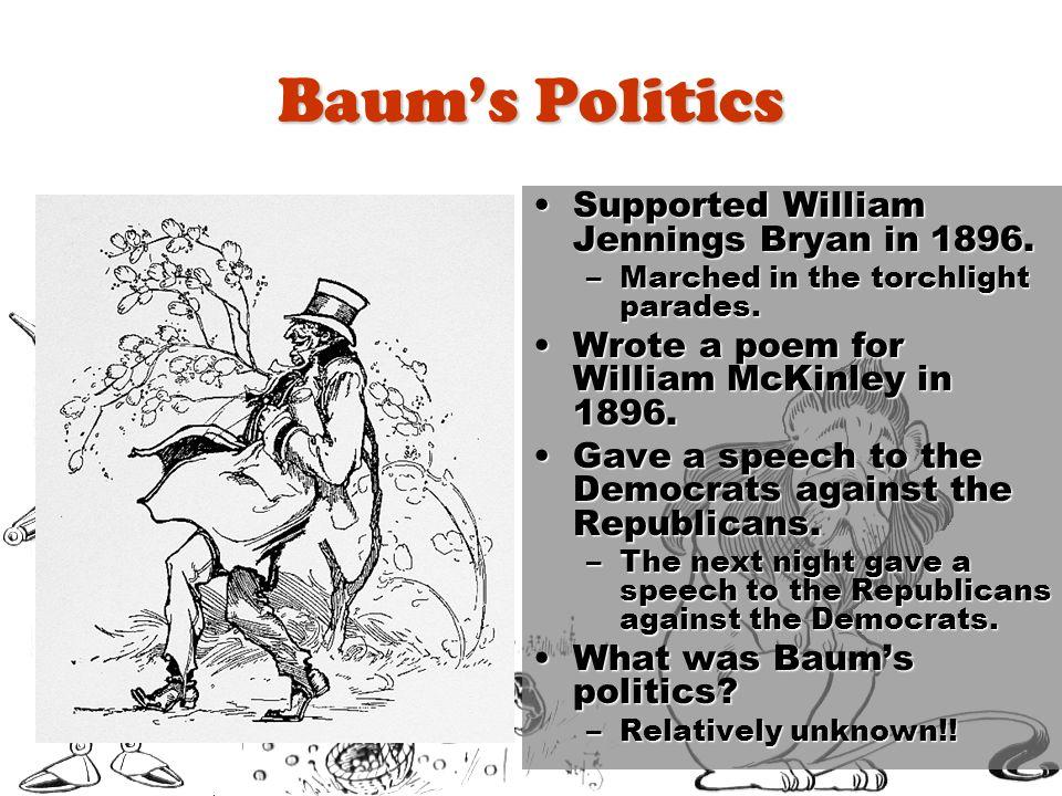 Baum's Politics Supported William Jennings Bryan in 1896.