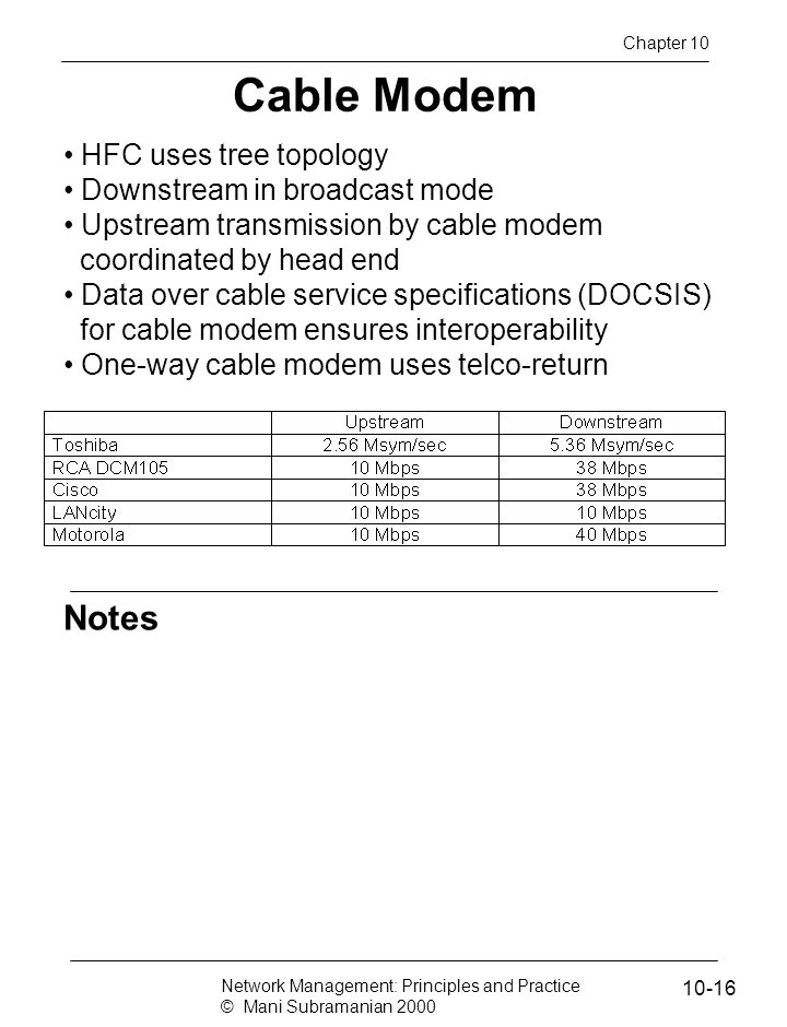 Cable Modem Notes HFC uses tree topology Downstream in broadcast mode