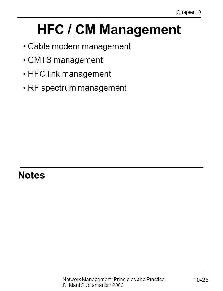 HFC / CM Management Notes Cable modem management CMTS management