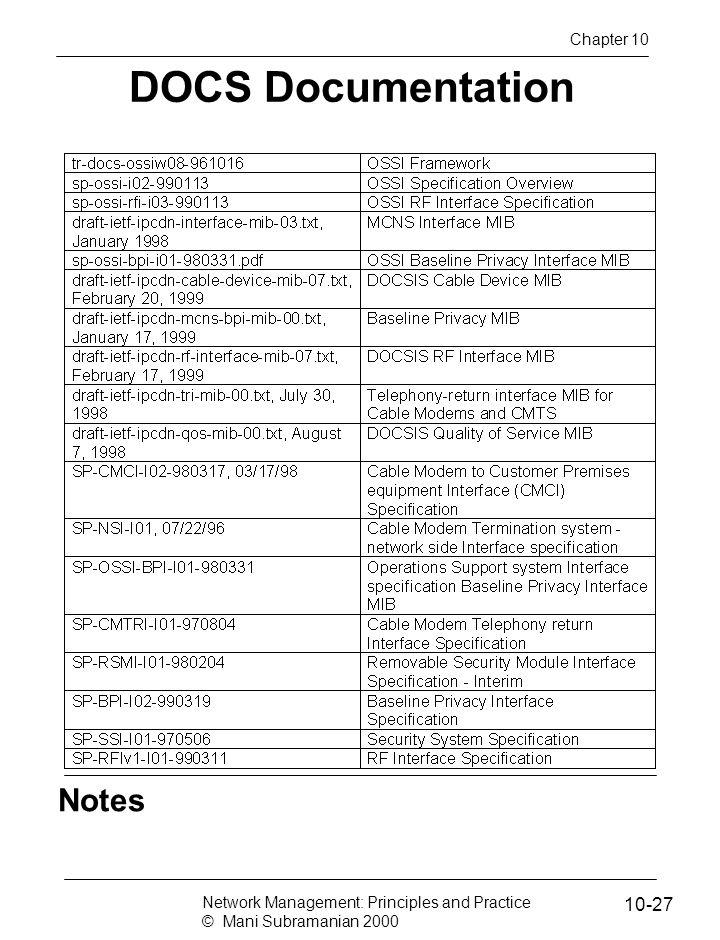 DOCS Documentation Notes 10-27 Chapter 10
